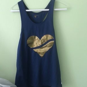 Blue shirt with gold heart